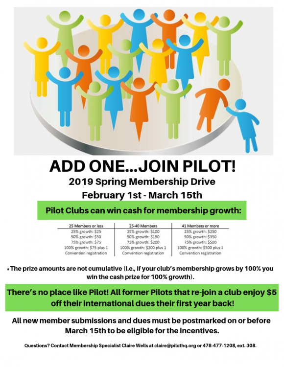 Welcome to the 2019 Spring Membership Drive featured by Pilot International.